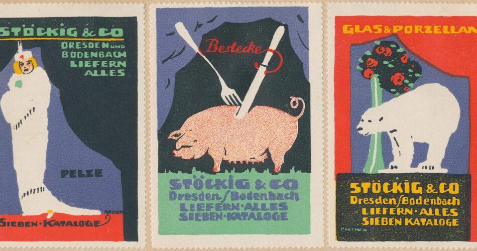 3 Werbemarken der Firma Stöckig- u. Co. bewerben Pelze, Besteck und Prozellan